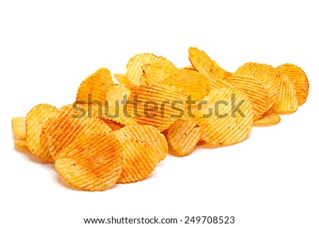 Potato ripple chips snack isolated on white - stock photo