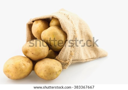 Potato sack isolated over white - stock photo