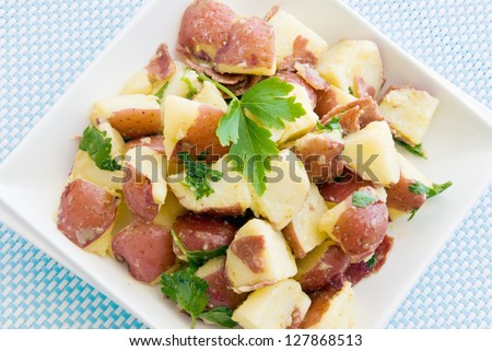 potato salad made with new potatoes, turkey bacon, and Italian Leaf ...