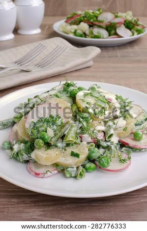 Potato salad with radishes, peas, beans in yogurt dressing - stock photo