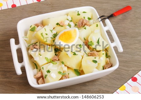 Potato salad with tuna fish green onion and boiled egg for Tuna fish salad recipe with egg