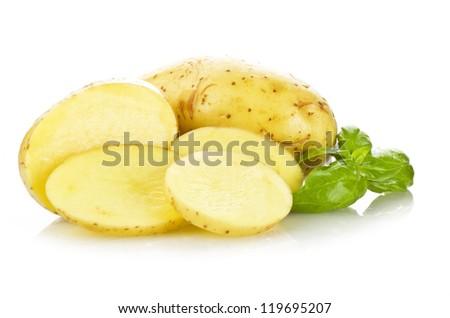 potato sliced  on the white background close up - stock photo