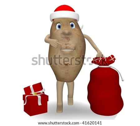 potato with Christmas gifts - stock photo