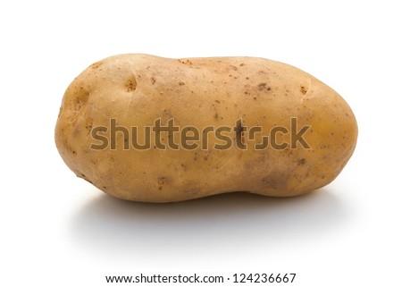 potatoe on white with clipping path - stock photo