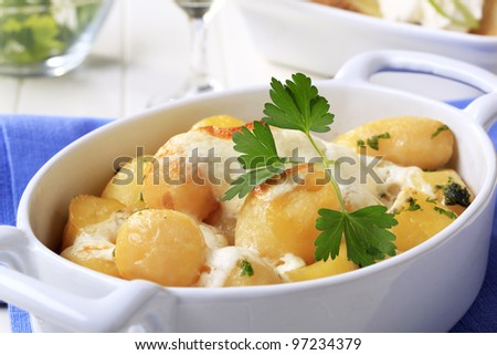 Potatoes and cream  - stock photo