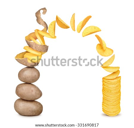 potatoes becomes potato chips isolated on white background - stock photo