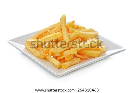Potatoes fries in the plate isolated on white - stock photo