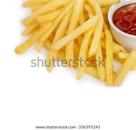 Potatoes fries with ketchup close-up isolated on a white background. - stock photo