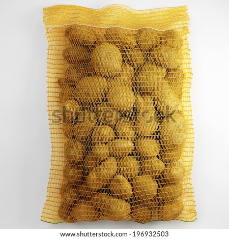 Potatoes in string-bag, Isolated, on white background  - stock photo
