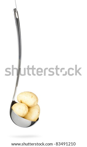 Potatoes in the ladle - stock photo