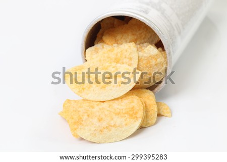 Potatoes plate on the white background - stock photo