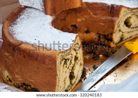 Potica, typical slovenian food in the market - stock photo