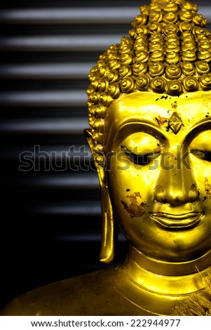 Potrait of a buddha statue - stock photo