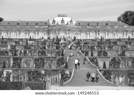 POTSDAM GERMANY MAY 22: Sanssouci is the name of the former summer palace of Frederick the Great, King of Prussia, in Potsdam, near Berlin, Germany on May 22 2010 - stock photo