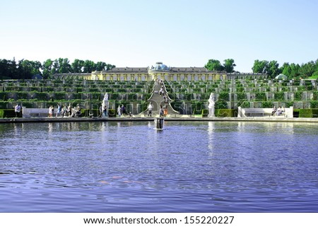 Potsdam Germany May 19: Sanssouci is the name of the former summer palace of Frederick the Great, King of Prussia, in Potsdam, near Berlin, Germany on May 19 2013 - stock photo