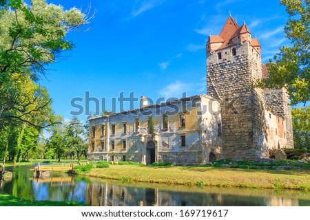 Pottendorf Castle Ruins near Eisenstadt, Austria - stock photo