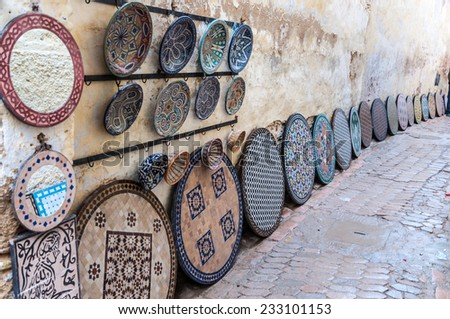 Pottery and souvenirs market in the medina of Fez, Morocco, Africa - stock photo