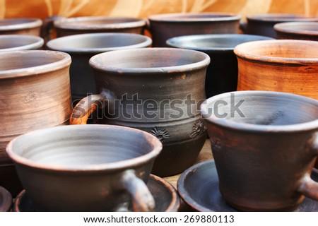 Pottery, clay products. Fair in Kaliningrad - stock photo