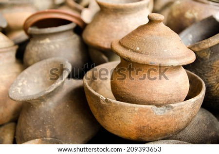 Pottery cup and jar in Thailand. - stock photo