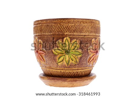 pottery floral yellow for the flowers so beautiful and orderly - stock photo