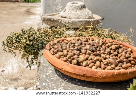 Pottery with argan fruit in a women cooperative of work in Essaouira, Morocco - stock photo