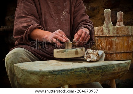 pottery works - stock photo