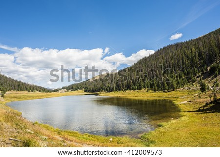 Poudre Lake in the fall in Rocky Mountains in Colorado - stock photo