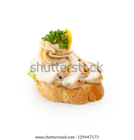 Poultry Canapes - Fried Chicken with Chestnut Sauce - stock photo