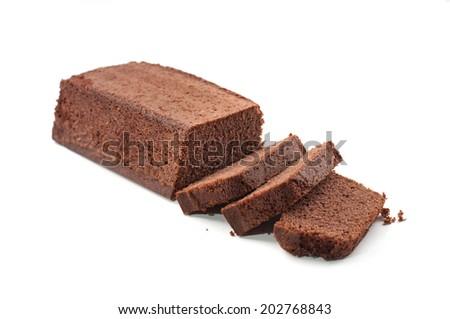 pound cake on white background - stock photo