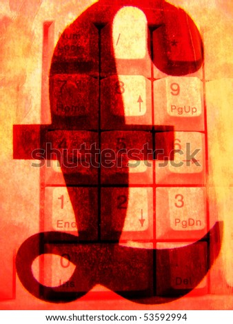 Pound over accountants numeric keypad - stock photo