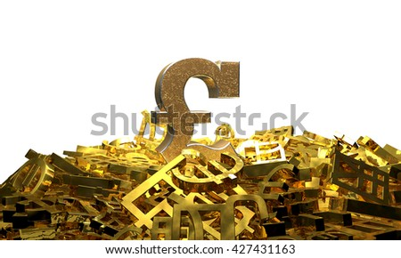 Pound sign on a pile of other currency symbols. 3D illustration - stock photo
