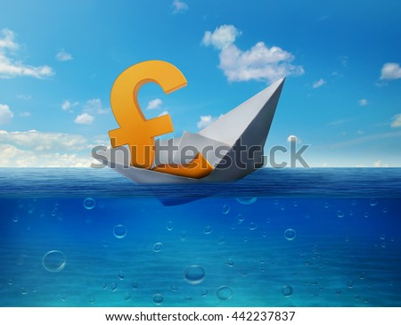 Pound sinking in the sea as symbol of future UK economy depression recession and economic downturns. Results of brexit polls. UK leaving EU concept. Bearish market  - stock photo
