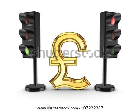 Pound sterling sign between traffic lights.Isolated on white background.3d rendered. - stock photo
