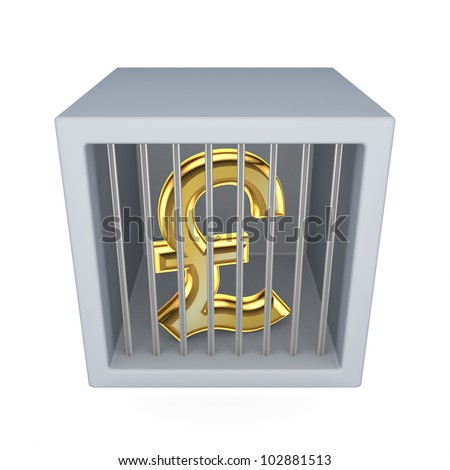 Pound sterling sign in a prison.Isolated on white background.3d rendered. - stock photo