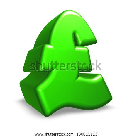 pound sterling symbol on white background - 3d illustration - stock photo