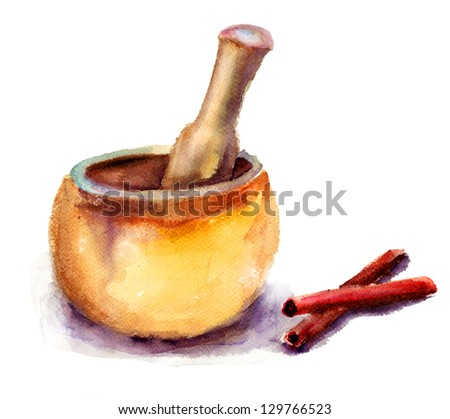 Pounder and pestle, watercolor illustration - stock photo