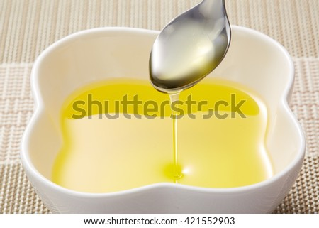 Pour the close-up of edible oil - stock photo