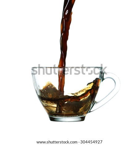 pouring a cup of coffee.Isolated on white background - stock photo