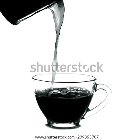 pouring a cup of coffee.Isolated on white background.Black and white - stock photo