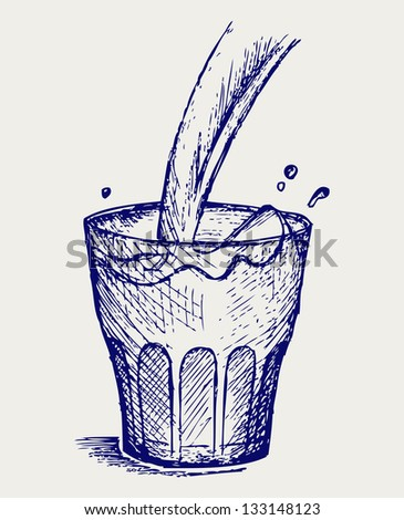 Pouring a glass of milk. Doodle style. Raster version - stock photo