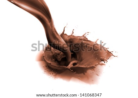 pouring chocolate drink, isolated on white background - stock photo