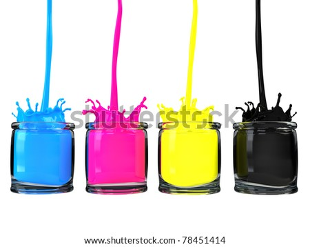 Pouring cmyk paint into glass vessels / CMYK paint / isolated on white - stock photo