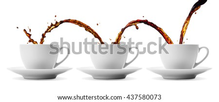 pouring coffee showing concepts of continuity, repetition and sharing - stock photo