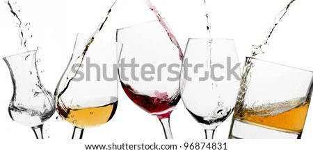 Pouring glasses - stock photo
