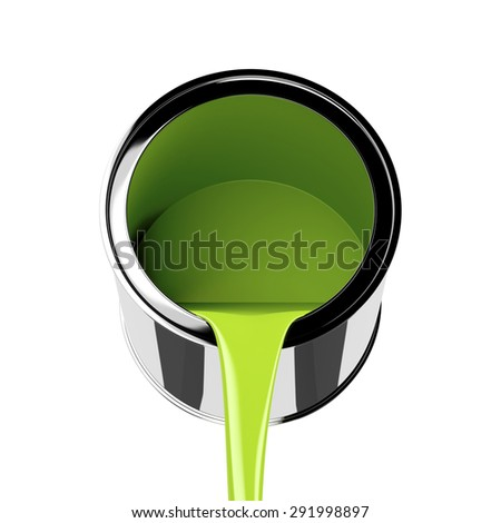 Pouring green paint from its can - stock photo