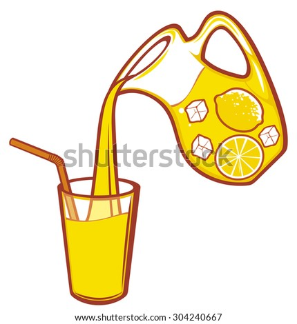 pouring lemonade design (pitcher of lemonade) - stock photo
