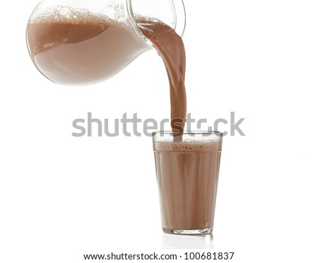pouring milk chocolate into a glass - stock photo