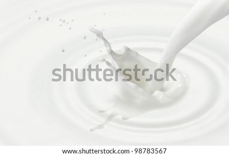 pouring milk  or white liquid created ripple and splash - stock photo
