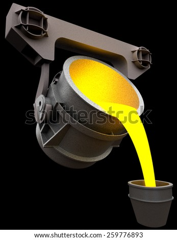 Pouring of liquid metal from the ladle, 3d render isolated on black - stock photo