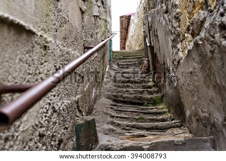 Poverty and dirty staircase in the slums - stock photo